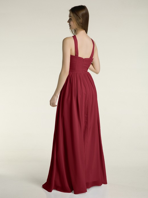 Babaroni Maria Y-neck Long Chiffon Bridesmaid Dresses