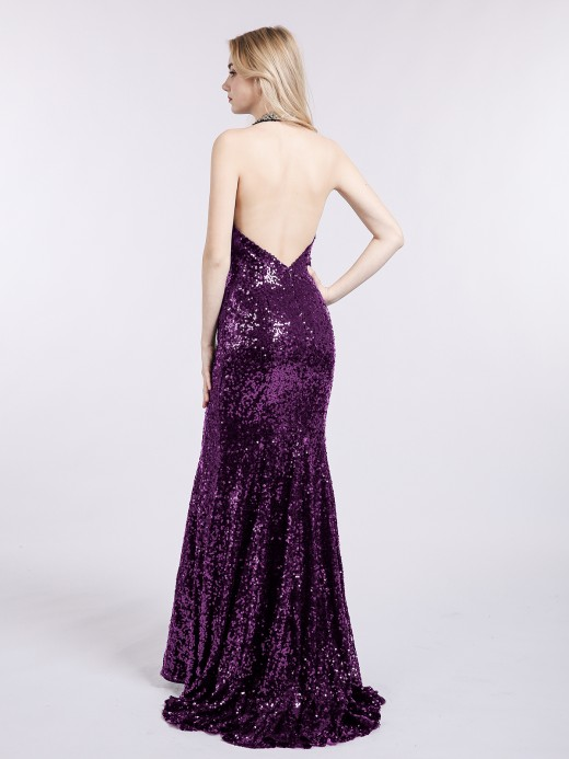 Babaroni Marina Halter Lower Back Sequins Mermaid Gown
