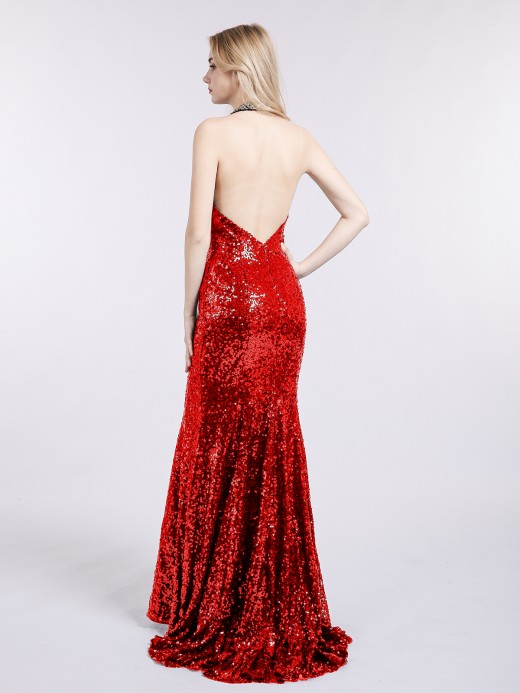 Babaroni Marina Halter Lower Back Sequins Memaid Gown