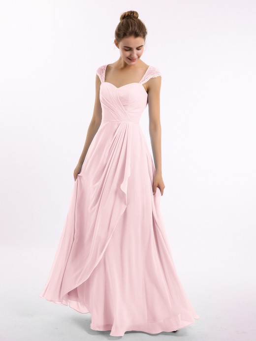 Marley Chiffon Bridesmaid Dresses with Lace Cap Sleeves US4