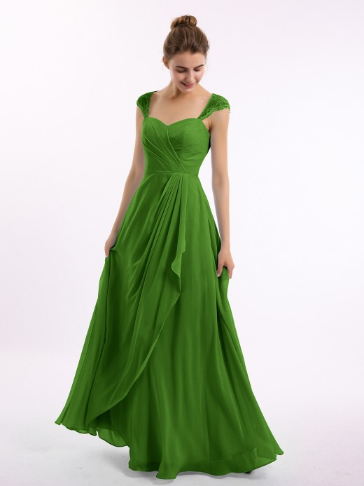 Babaroni Marley Chiffon Bridesmaid Dresses with Lace Cap Sleeves