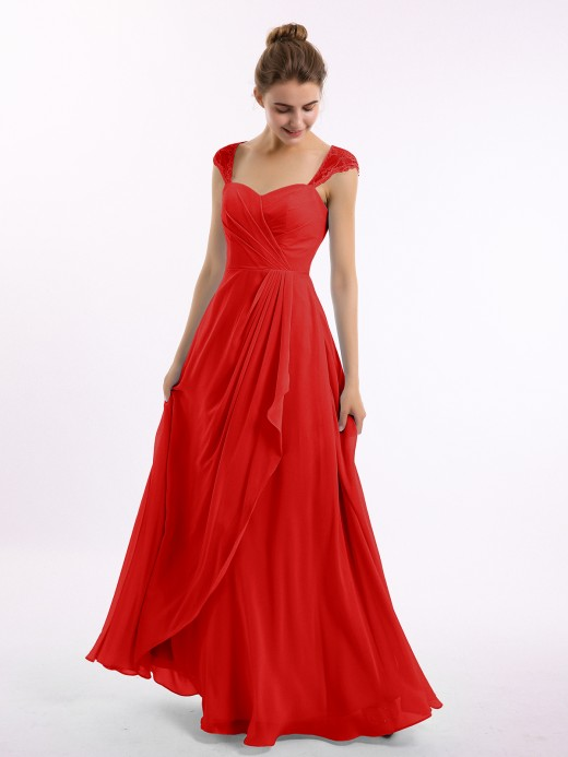 Marley Chiffon Bridesmaid Dresses with Lace Cap Sleeves  US8