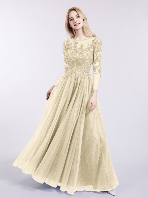 Babaroni Martha Tulle with Appliqued Long Sleeves Dress