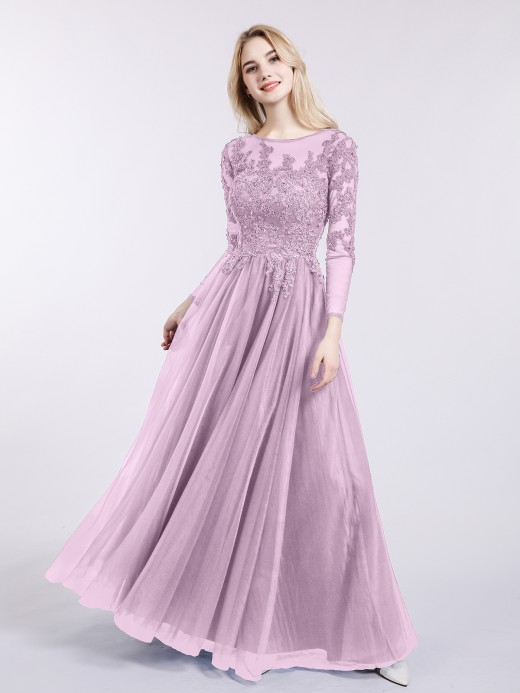 Martha Tulle with Appliqued Long Sleeves Dress US16