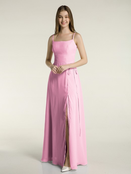 Babaroni Maud Simple Spaghetti Strap Chiffon Gowns with Slit