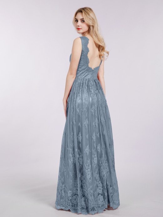 Babaroni Mavis Long Full Length Gown with V Neckline