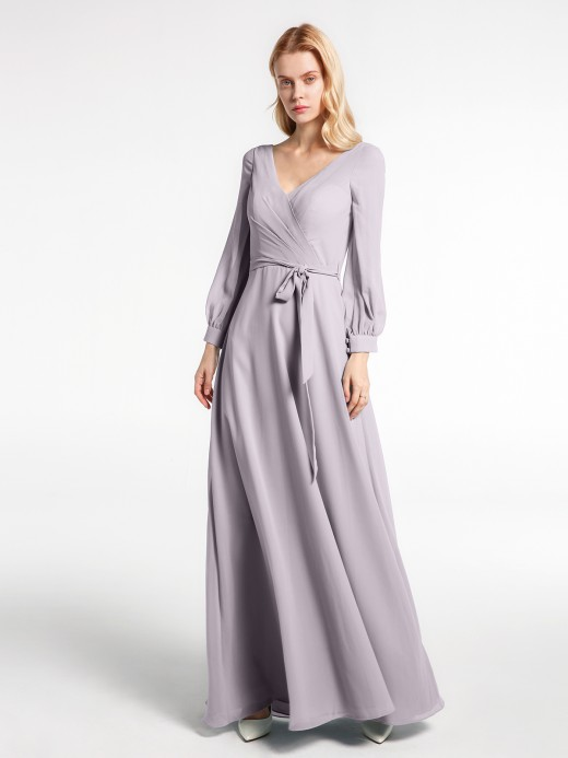 Babaroni Maxine V-neck Bishop Sleeves Chiffon Dress with Bow