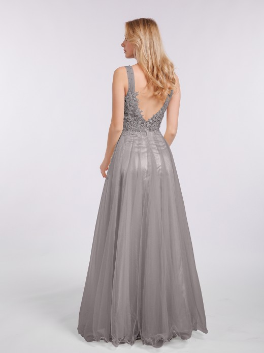 Babaroni Megan Long Tulle See Through Bodice Dress
