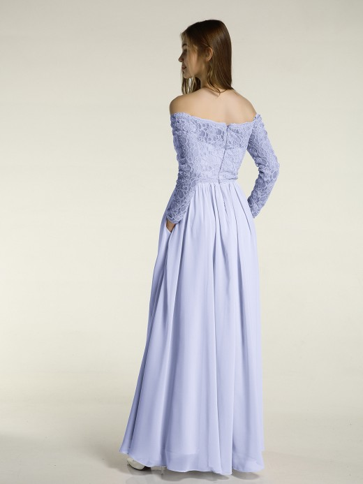 Babaroni Meilani Lace and Chiffon Long Sleeves Dresses with Pockets