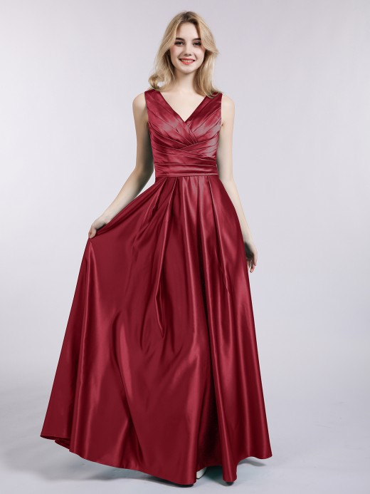 Meroy Open Back Long Satin Gown with V-neck US18