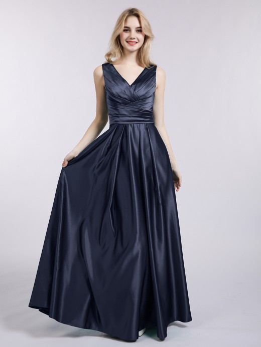 Babaroni Meroy Open Back Long Satin Gown with V-neck