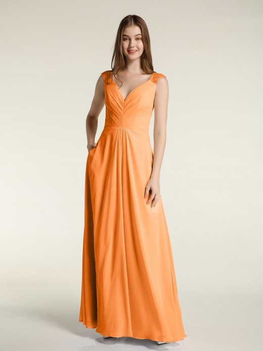 Babaroni Merry Lace Straps V-neck Chiffon Dresses with Pockets