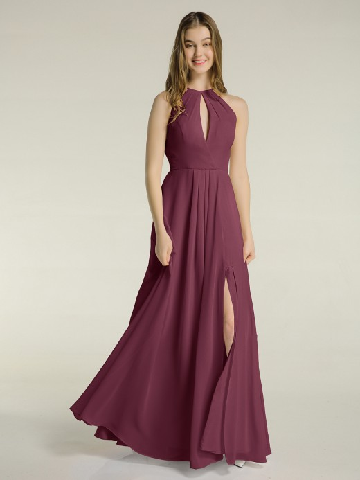 Babaroni Michaela Chiffon Long Halter Dresses with Slit