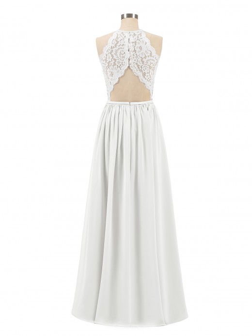 Babaroni Michaelia Halter Maxi Dress with Ivory Lace Bodice