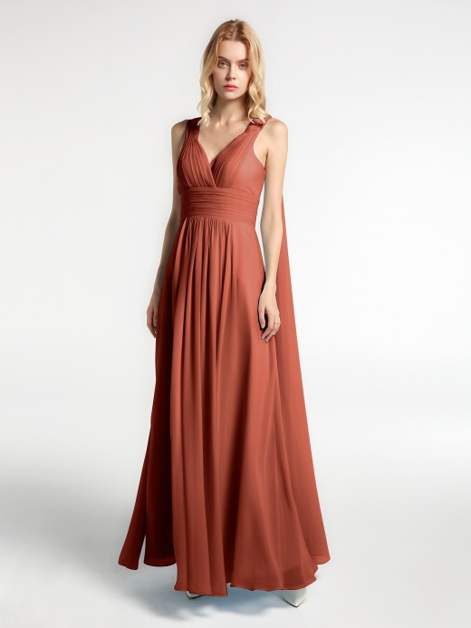 Babaroni Michelle V-neck Chiffon Gown with Streamer at Back Strap