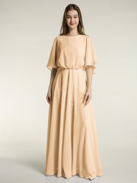 Babaroni Mignon Flutter Sleeves Long Chiffon Bridesmaid Dresses