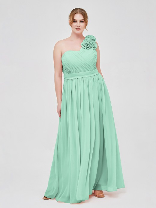 Babaroni Mirabelle One Shoulder Chiffon Dress with Flowers Strap