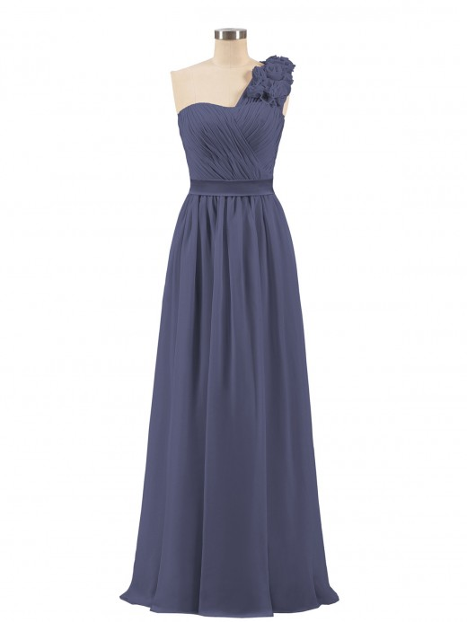 Stormy Chiffon One Shoulder Bridesmaid Dresses Under 100 Cheap