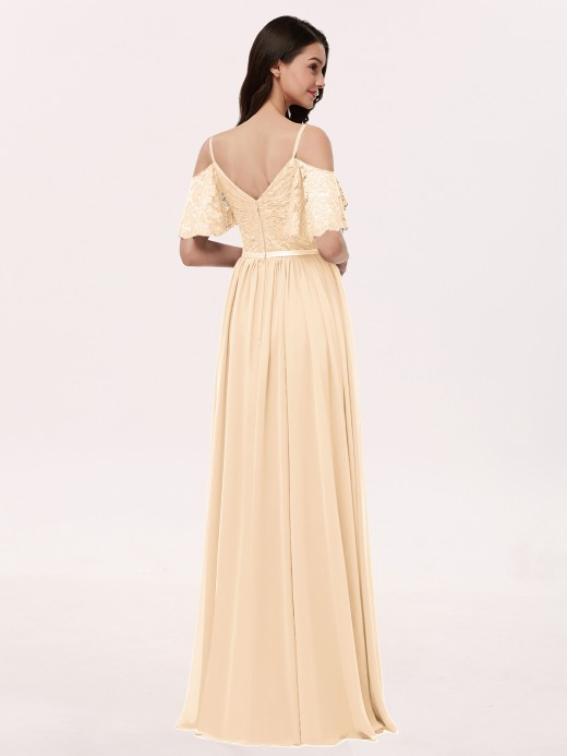 Babaroni Miranda Spaghetti Strap Lace and Chiffon Dress