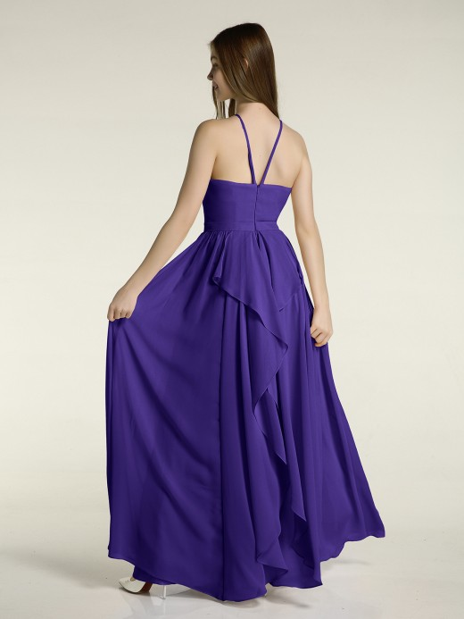 Babaroni Miriam Halter Chiffon Long Bridesmaid Dresses