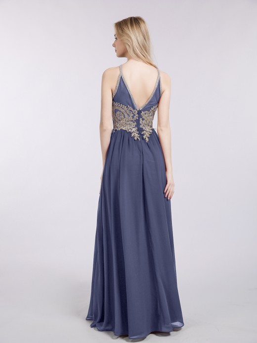 Babaroni Moira Halter Chiffon with Gold Appliqued Dress