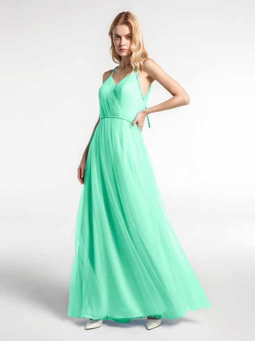 Babaroni Molly Twist Straps Tulle Maxi Dress with V Neckline