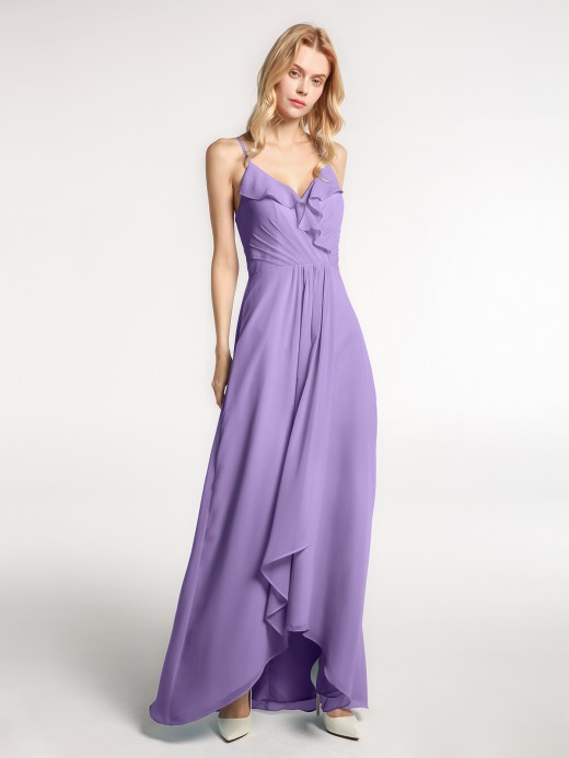 Babaroni Mona Spaghetti Strap Ruffles High Low Chiffon Dress