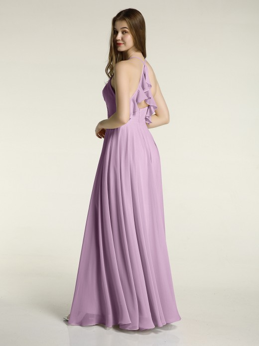 Babaroni Monica V-neck Cross Back Chiffon Bridesmaid Dresses