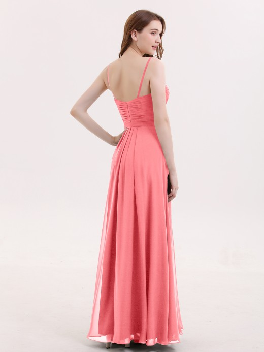 Babaroni Muriel Spaghestti Strap Chiffon Dress with Sweetheart NECK