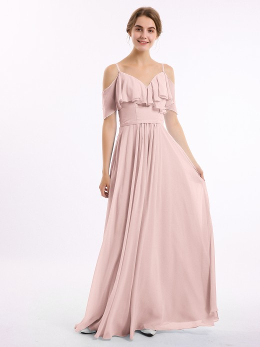 Babaroni Nana Off the Shoulder Spaghetti Strap Bridesmaid Gowns