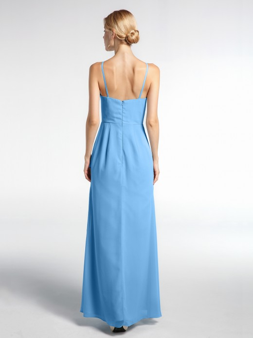 Babaroni Natalie V-neck Chiffon Simple Maxi Dress with Spaghetti Straps