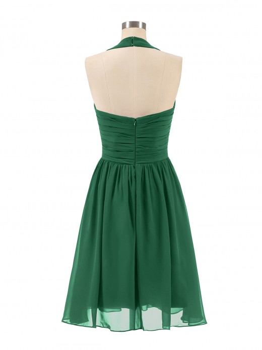 Babaroni Natividad Halter V Neck Short Chiffon Bridesmaid Dresses
