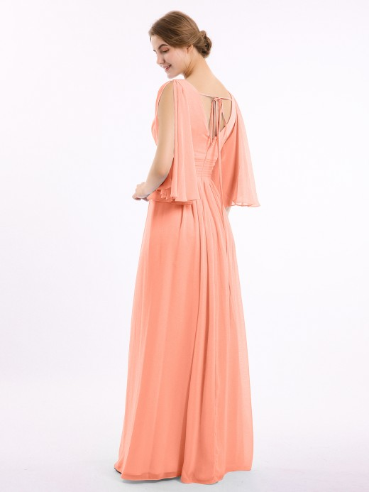 Babaroni Nelly Deep V-neck Chiffon Dresses with Slit