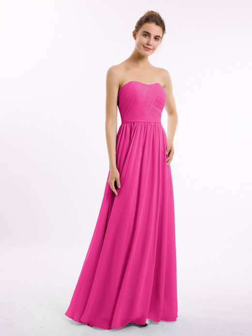Babaroni Nicole Strapless Long Chiffon Bridesmaid Dresses