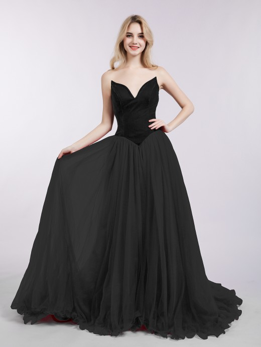 Babaroni Nina Sweetheart Neck Tulle Dress with Train