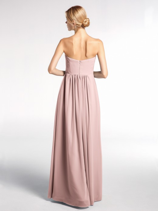 Babaroni Norma Strapless Chiffon Empire Waist Dress with Pockets