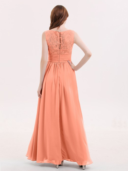 Babaroni Novia V Neck Chiffon And Lace Dress with Slit