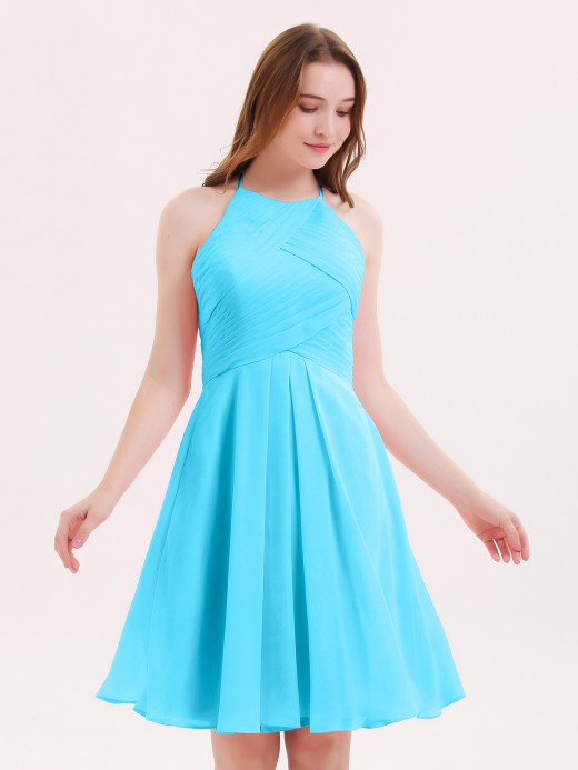 Babaroni Olga Short Chiffon Bridesmaid Dress with Pocket