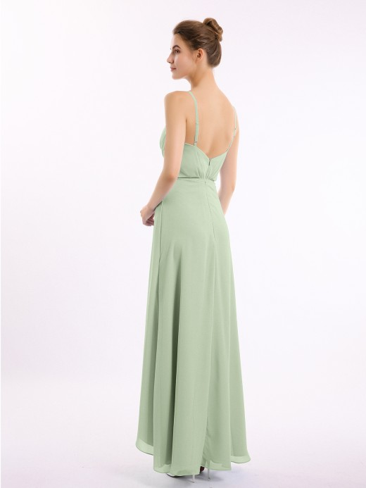Babaroni Olive Spaghetti Strap High Low Chiffon Dresses with Bow