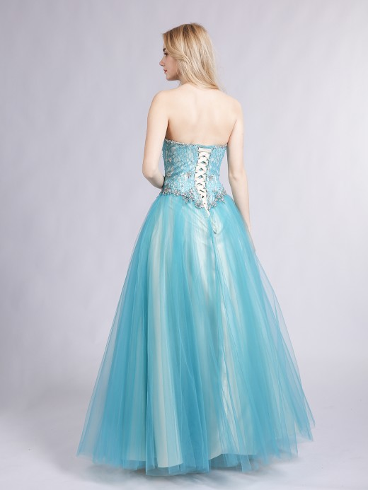 Babaroni Paloma Sweetheart Neck Lace and Tulle Prom Gown