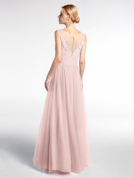 Babaroni Pamela Illusion Neckline Lace and Tulle Maxi Dress