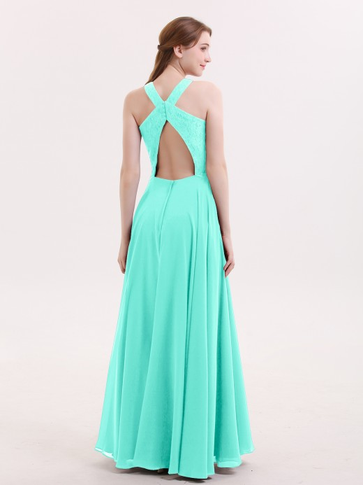 Babaroni Pandora Lace and Chiffon Halter Dress with Open Back