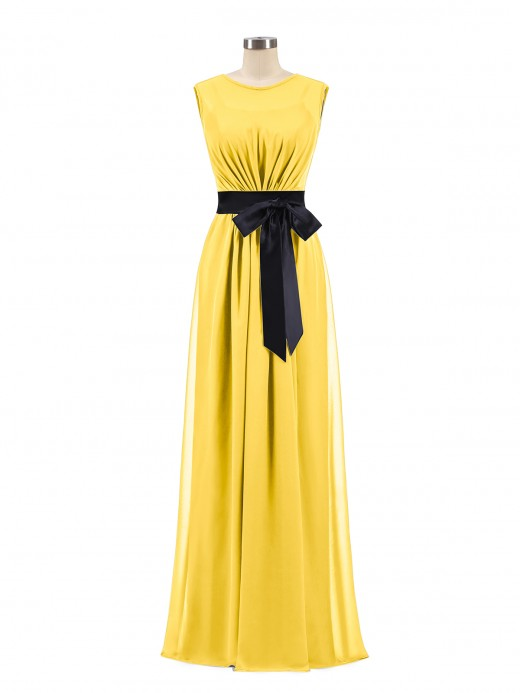 Babaroni Patricia FAUX-Wrap Chiffon Dress with Black Waistband