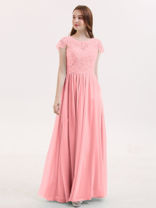 Pearl Long Bridesmaid Dresses with Cap Sleeves US14