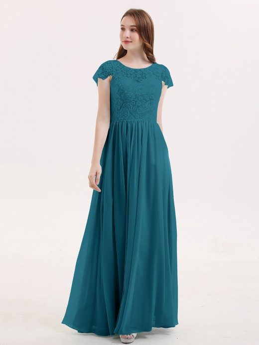 Pearl Long Bridesmaid Dresses with Cap Sleeves US8 US12 US16 US18