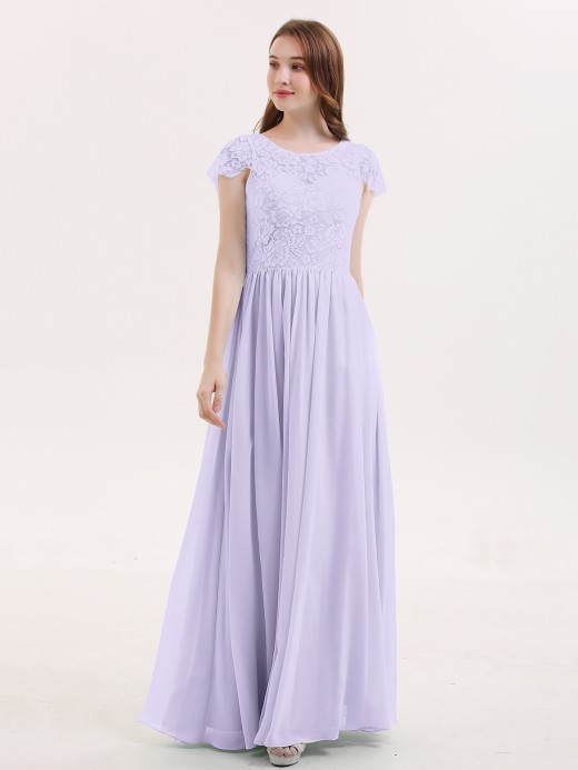 Pearl Long Bridesmaid Dresses with Cap Sleeves US8