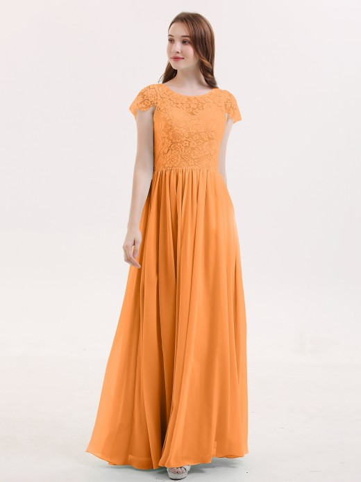 Babaroni Pearl Long Bridesmaid Dresses with Cap Sleeves