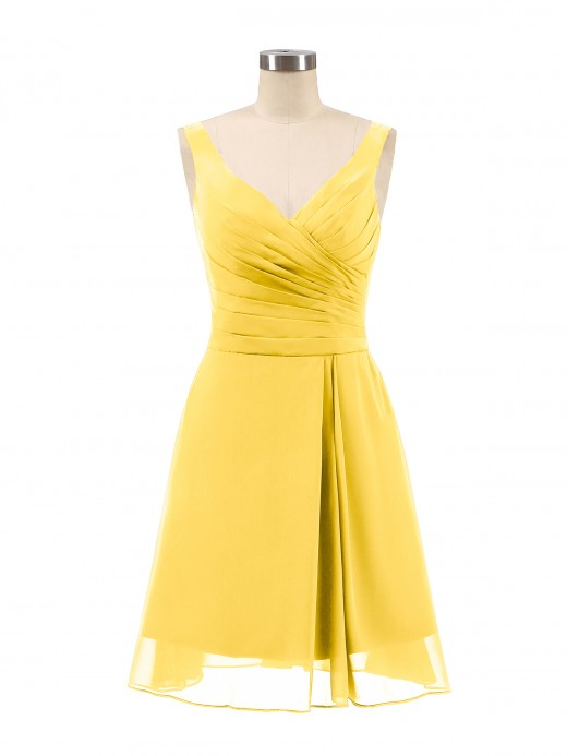 Babaroni Penelope V Neck Chiffon Short Dress for Bridesmaids