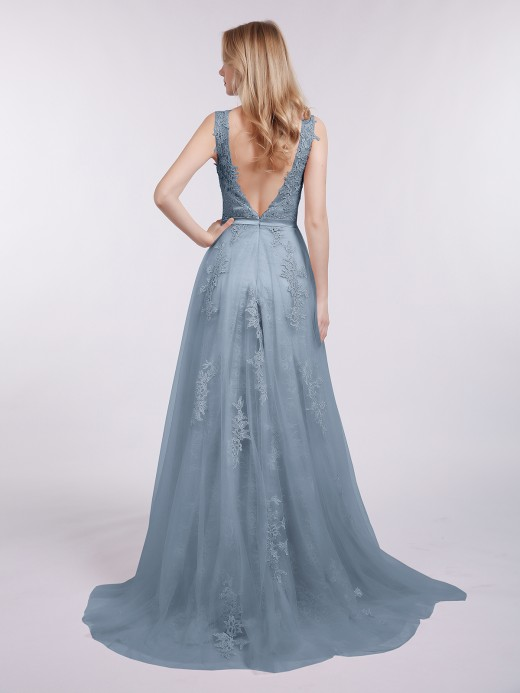 Babaroni Penny Illusion Neck Tulle with Appliqued Dress