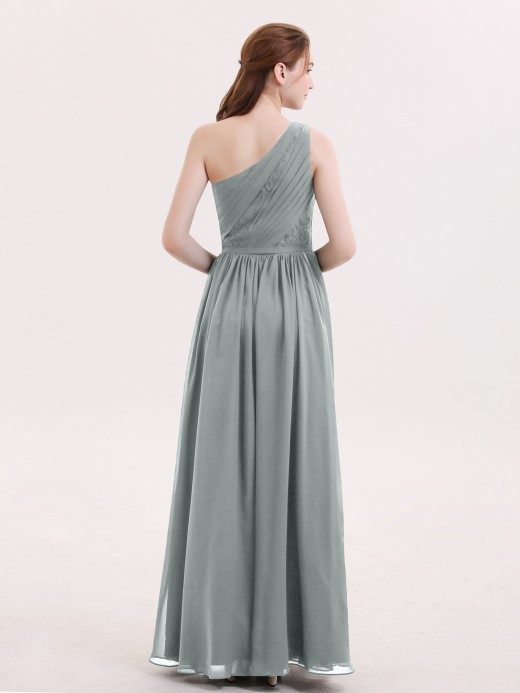 Babaroni Phoenix One Shoulder Chiffon and Lace Bridesmaid Dress